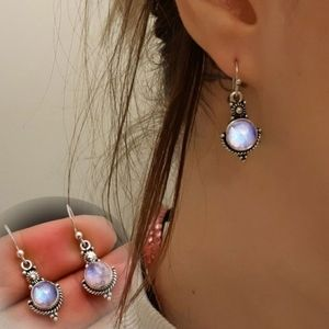 Vintage Inspired Antiqued Silver Moonstone Earring
